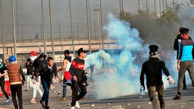 تیراندازی افراد مسلح ناشناس به سمت معترضان و نیروهای امنیتی در عراق